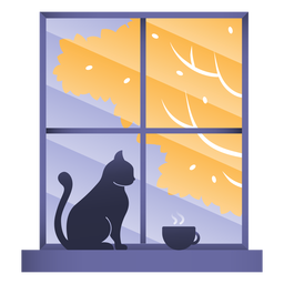 Window cat illustration