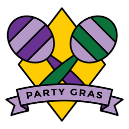 party gras maracas badge