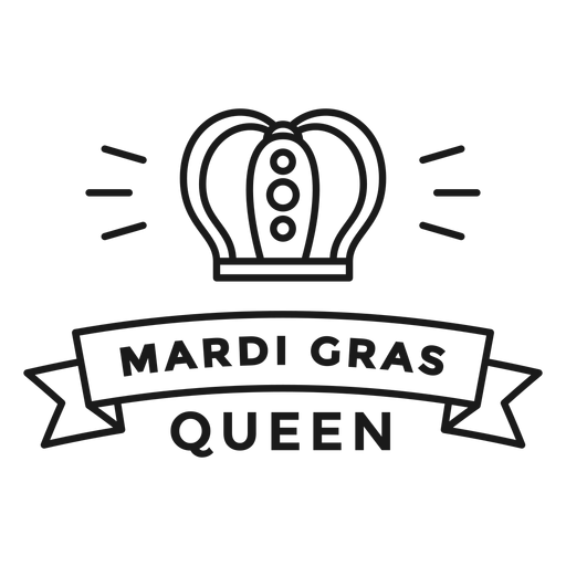mardi gras queen badge stroke Transparent PNG
