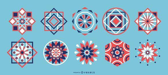 Pacote de elementos coloridos geométricos árabes
