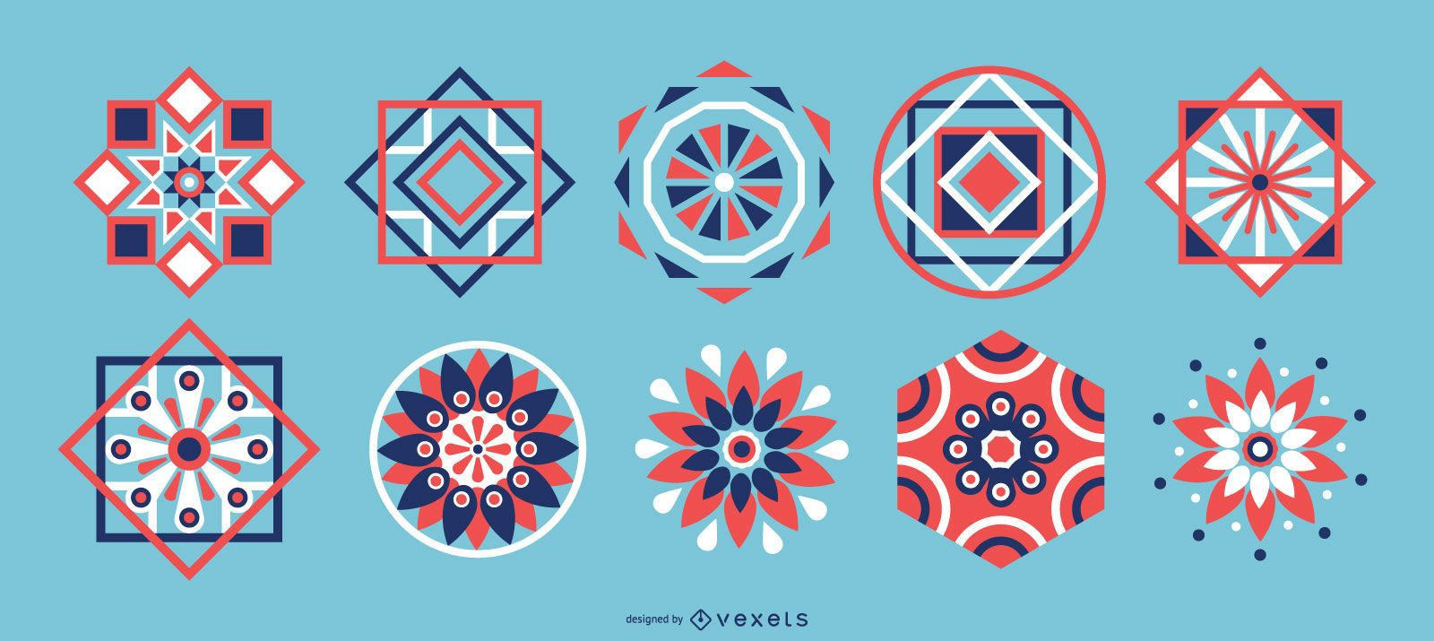 Arabic Geometric Colored Elements Pack