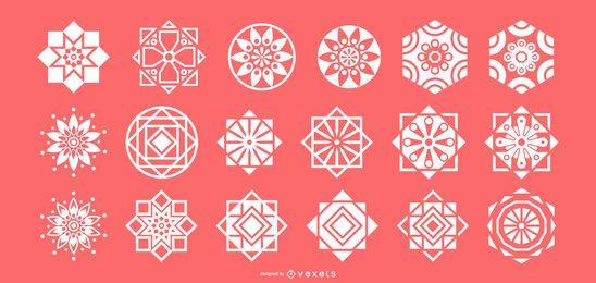 Coleção de formas geométricas de silhueta branca árabe