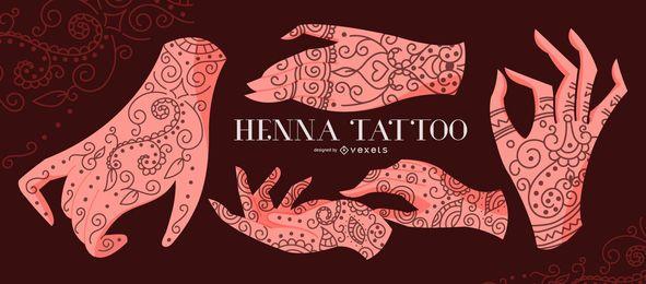 Conjunto de ilustración de manos de tatuaje de henna