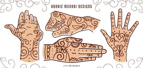 Conjunto de design de tatuagem de mão de hena