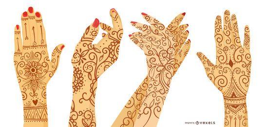 Conjunto de diseño de tatuaje de henna mano de mujer
