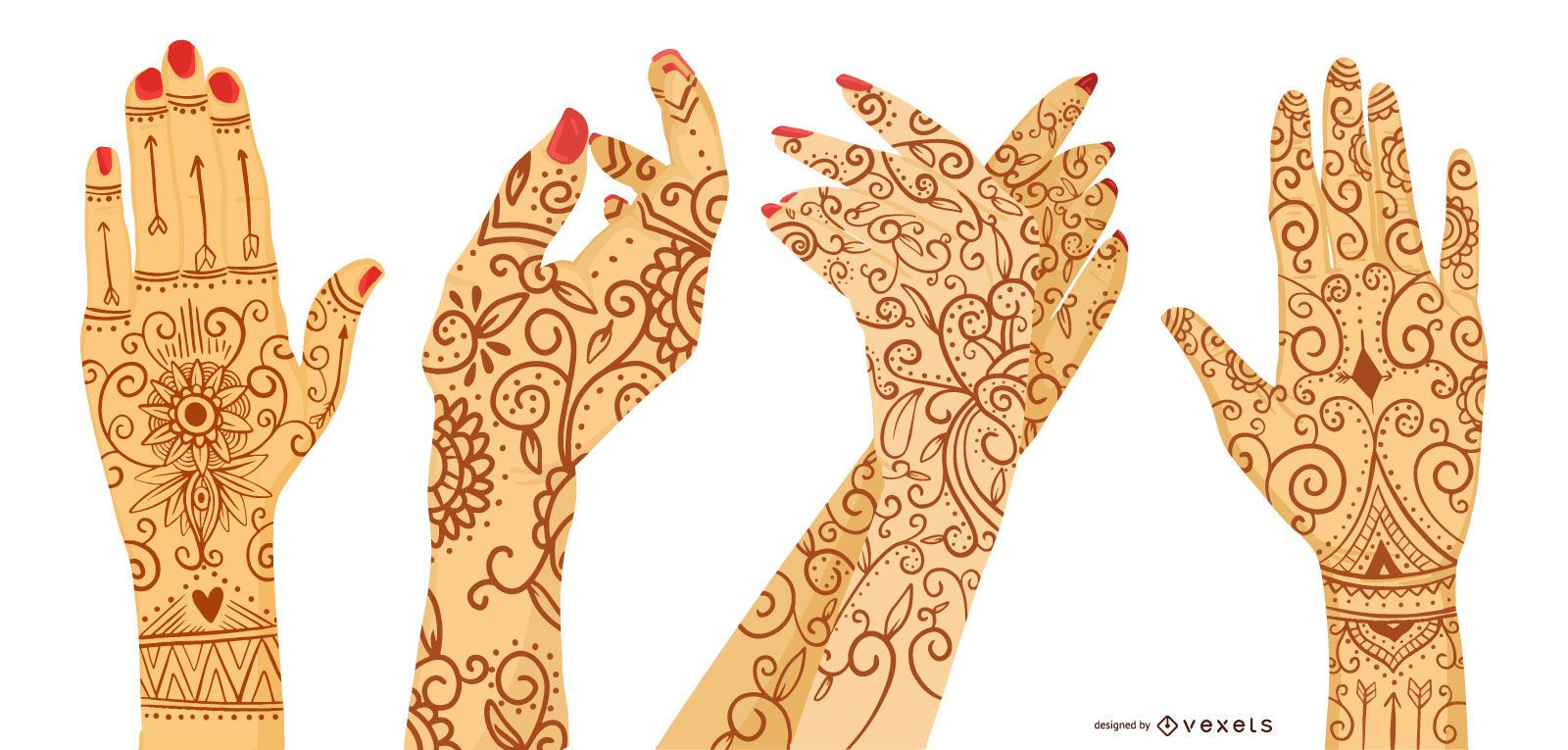 Conjunto de design de tatuagem de hena para mulher