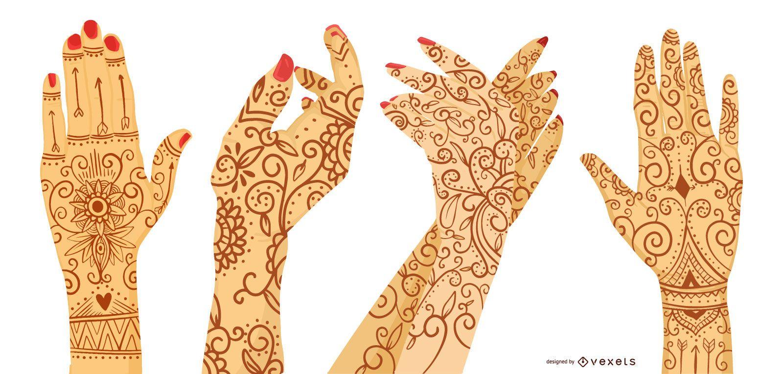 Conjunto de diseño de tatuaje de henna de mano de mujer