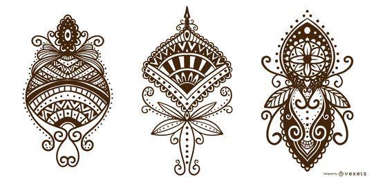 Paquete de diseño ornamental de tatuaje de henna