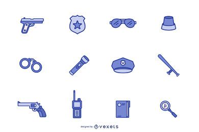Conjunto de ícones azuis de polícia