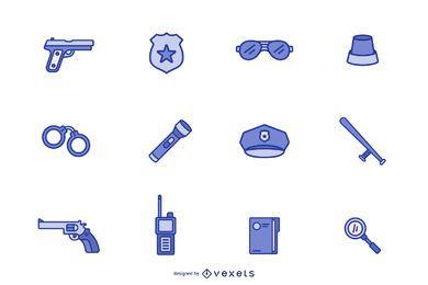 Conjunto de ícones da polícia azul