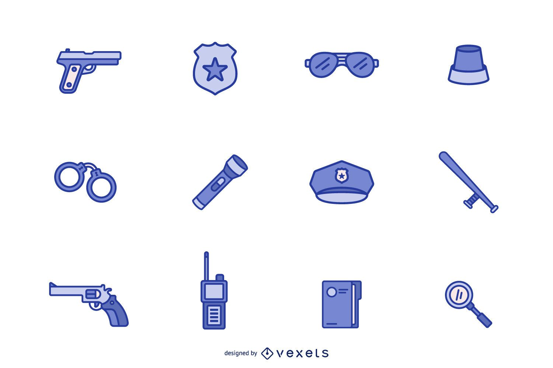 Police icon blue set