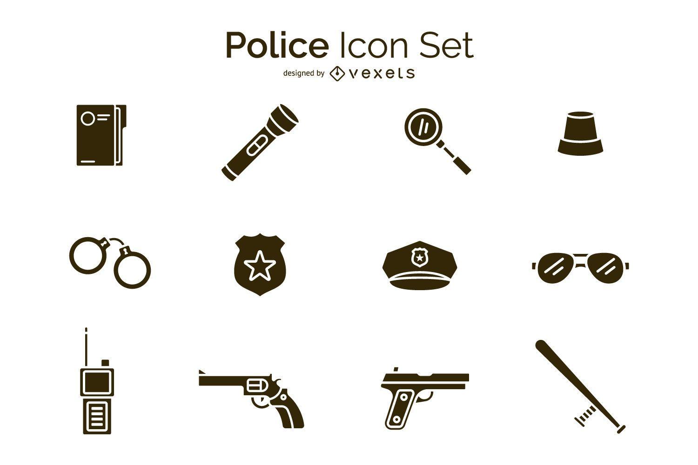 Conjunto de ícones de polícia