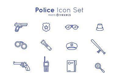Conjunto de traços de ícone de polícia
