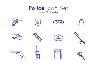 Police icon stroke set