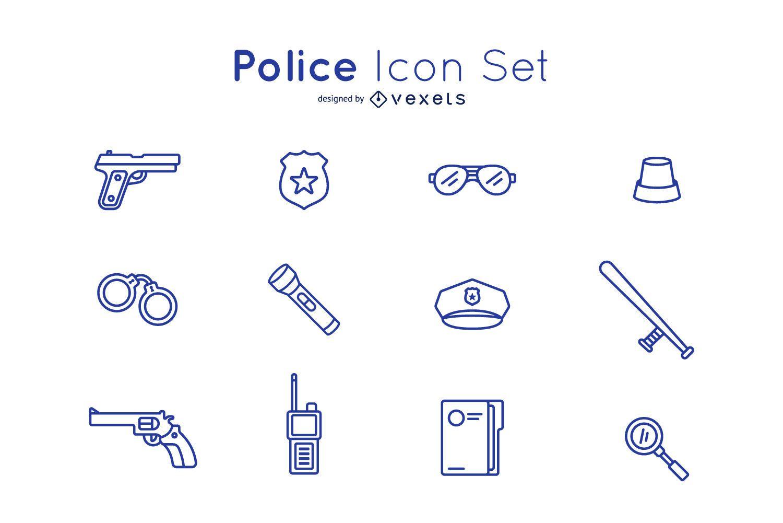 Police icon stroke set