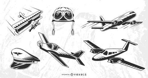 Conjunto de aviões vintage