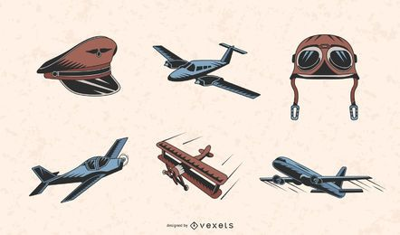 Vintage planes color set