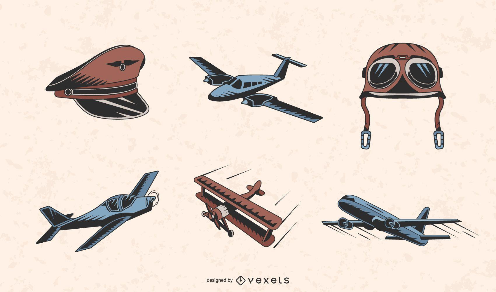 Vintage planes color set