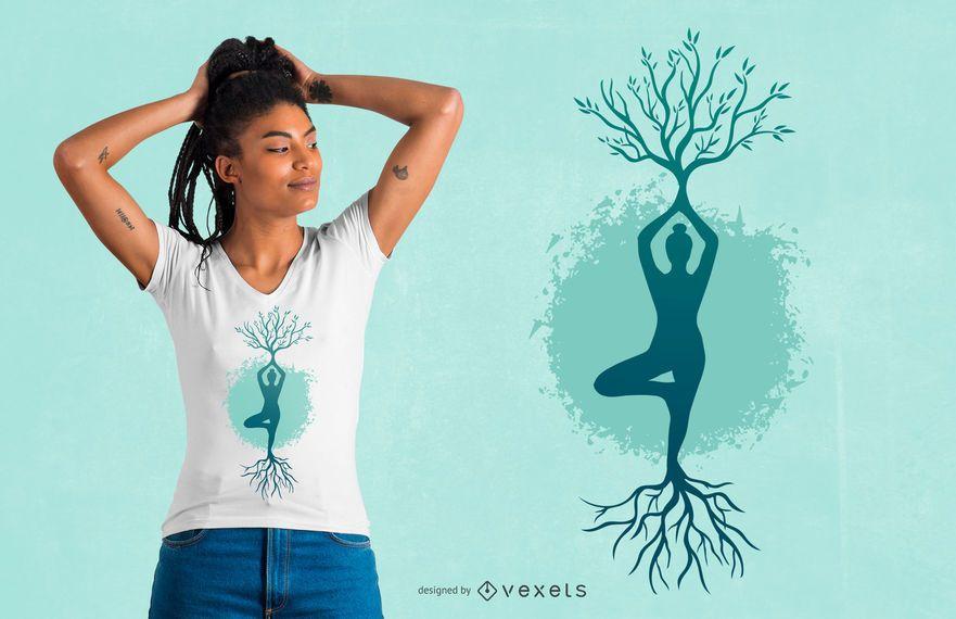 Design de t-shirt de árvore de mulher ioga