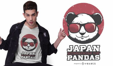 Diseño de camiseta de panda kingdom japan