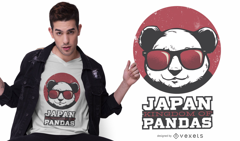 Diseño de camiseta de panda kingdom japan