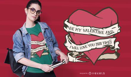 Design de t-shirt coração Valentine 2020