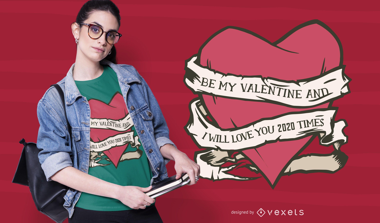 Valentine 2020 heart t-shirt design