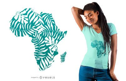 Diseño de camiseta de hojas tropicales africa
