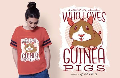 A garota adora o design de camisetas de porquinhos da índia