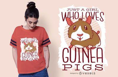 A menina ama o design do t-shirt dos porquinhos-da-índia