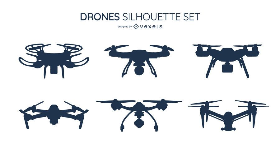 Paquete de diseño de silueta de drone