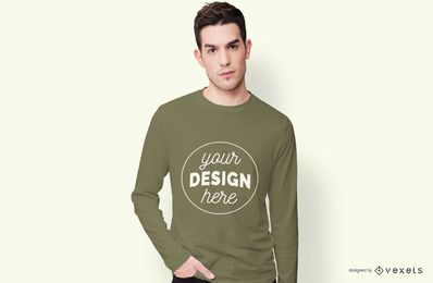 Langärmliges T-Shirt-Modell