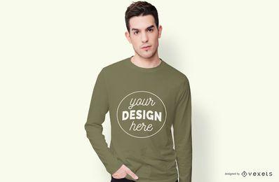 Maquete de camiseta de mangas compridas