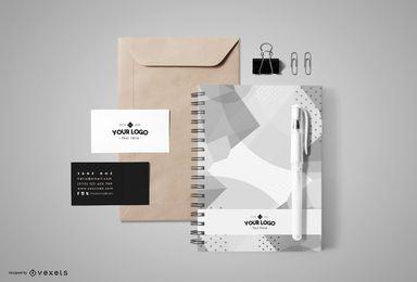 Design de maquete de marca de papelaria