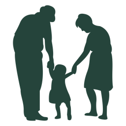 Adult child holding hands silhouette