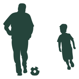 Silhueta de jogar futebol adulto criança