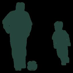 Silueta de juego de fútbol de niño adulto