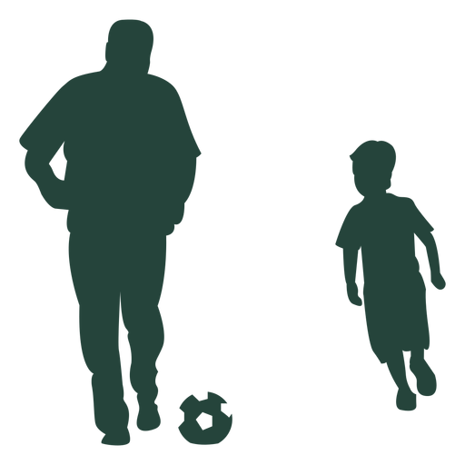 Adult kid soccer playing silhouette Transparent PNG