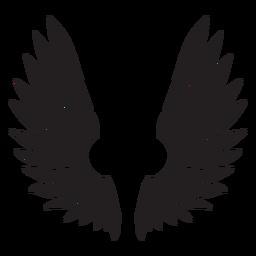 Alas de pájaro ángel cortadas en negro