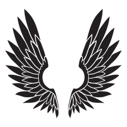 Angel bird wings cut out black