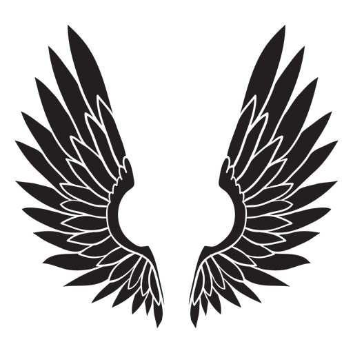 Angel bird wings cut out black Transparent PNG