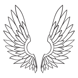 Contorno de asas de pássaro anjo