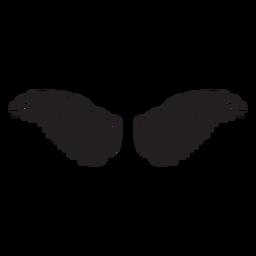 Alas de pájaro ángel extendidas cortadas en negro