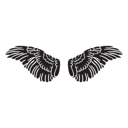Angel bird wings spread cut out black