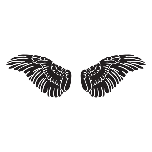 Angel bird wings spread cut out black Transparent PNG