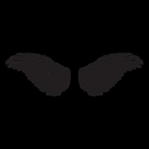 Angel bird wings spread cut out black