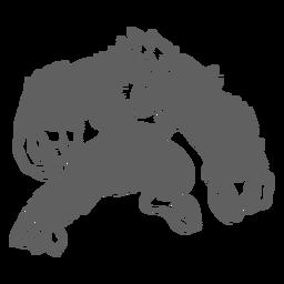 Yeti enojado posando recortado negro