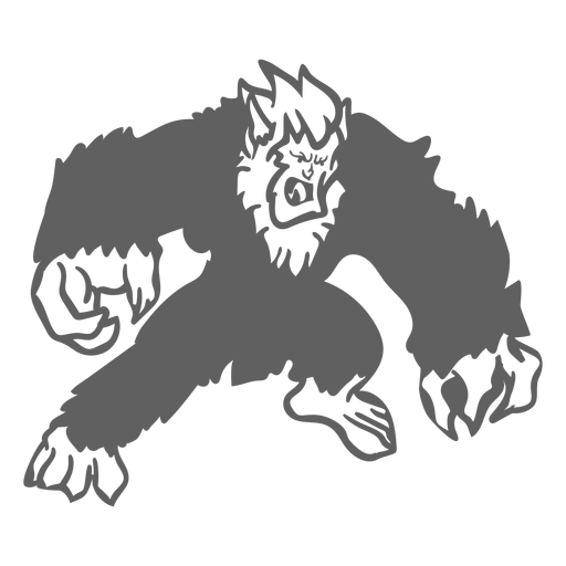 Yeti enojado posando recortada negro Transparent PNG