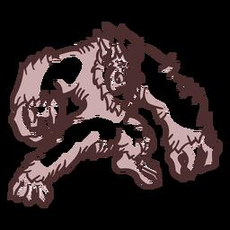 Yeti zangado posando duotônico