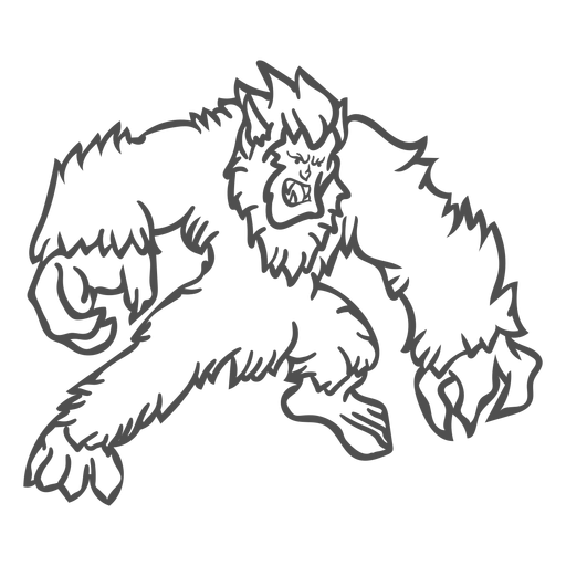 Angry yeti posing outline